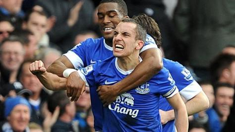 Everton celebrate their victory against Man City