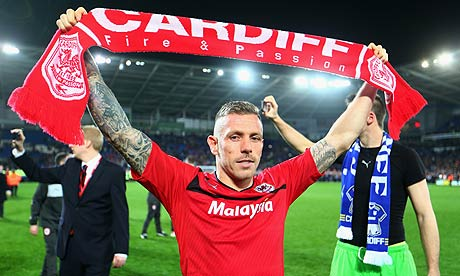 Craig Bellamy of Cardiff City celebrates